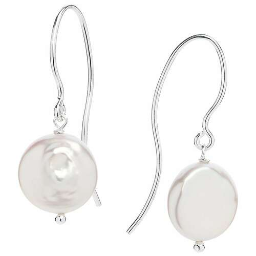 Claudia Bradby White Florentine Freshwater Coin Pearl Drop Earrings