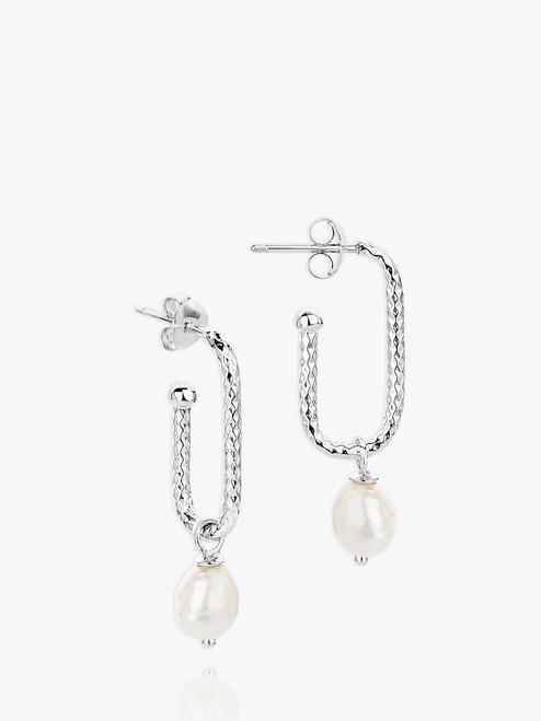 Claudia Bradby Silver Textured Rectangular Pearl Drop Earrings