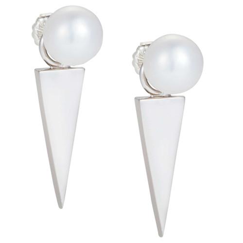 Claudia Bradby  Silver/White Freshwater Pearl Geometric Blade Drop Earring