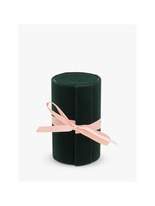 Caroline Gardner Green Velvet Jewellery Box Roll, Green