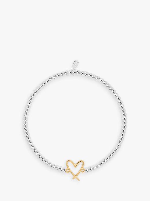 Joma Jewellery  Silver/Gold Christmas Cracker Live Love Sparkle Heart Charm Beaded Stretch Bracelet