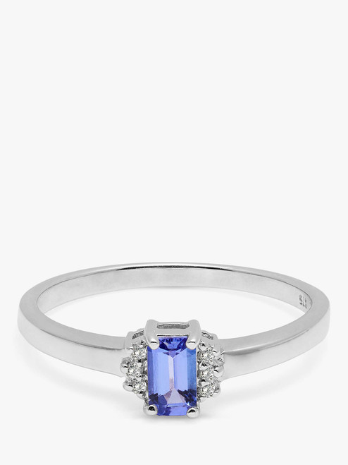 A B Davis Engagement Ring 9ct White Gold Baguette Tanzanite and Diamond