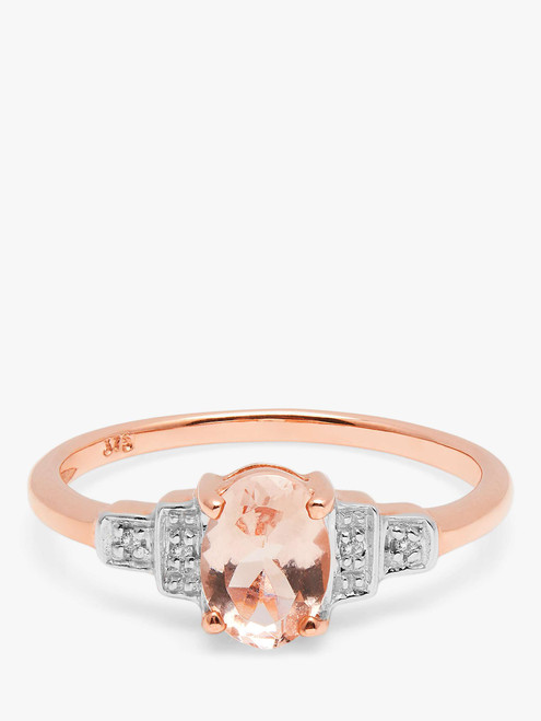 A B Davis Engagement Ring 9ct Rose Gold Oval Morganite and Diamond Cluster