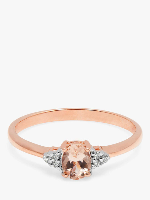 A B Davis Engagement Ring 9ct Rose Gold Morganite and Diamond Cluster