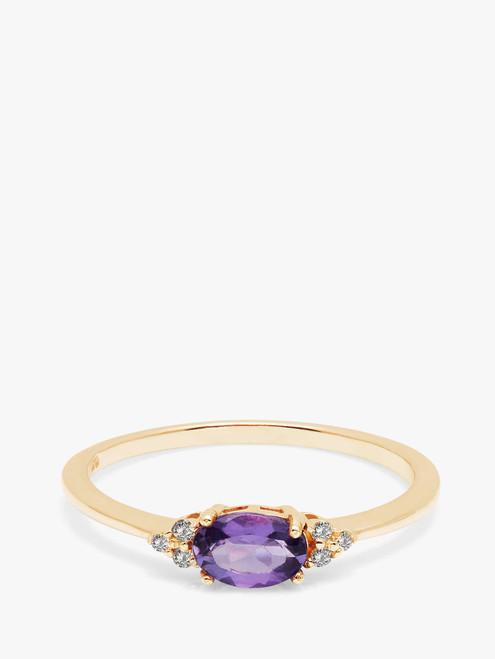 A B Davis Engagement Ring 9ct Gold Amethyst and Diamond