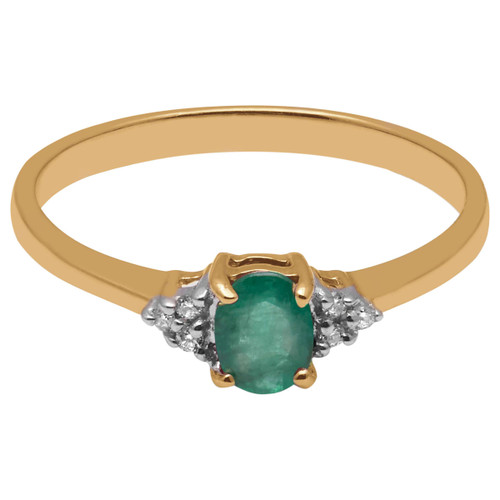 A B Davis Gold Oval Emerald and Diamond Engagement Ring 9ct