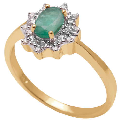 A B Davis Engagement Ring 9ct Yellow Gold Emerald and Diamond Cluster