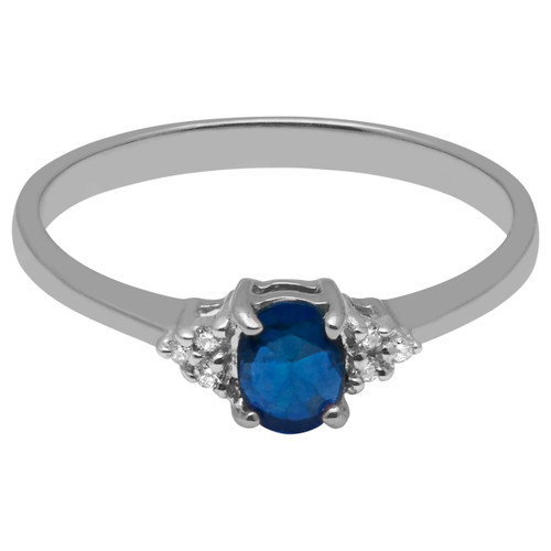 A B Davis Engagement Ring 9ct White Gold Oval Sapphire and Diamond