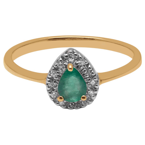 A B Davis Engagement Ring 9ct Yellow Gold Pear Emerald and Diamond