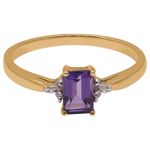 A B Davis Cocktail Ring 9ct Yellow Gold Baguette Amethyst and Diamond Shoulder