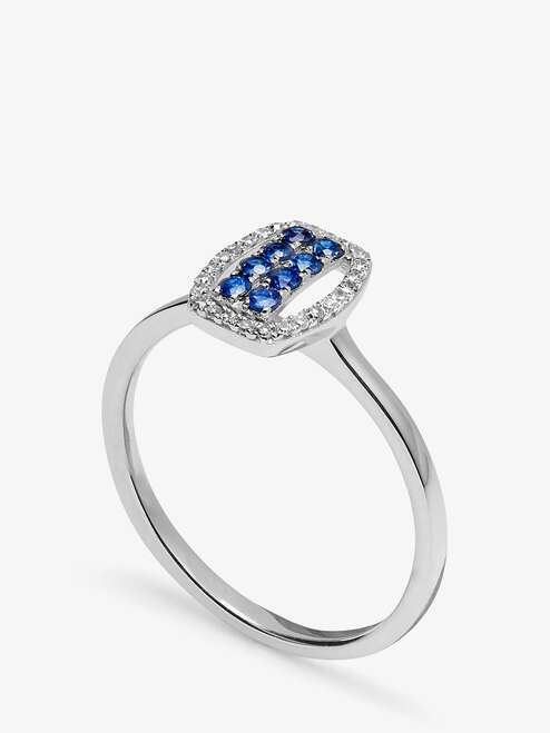 A B Davis Engagement Ring 9ct White Gold Sapphire and Diamond Tonneau