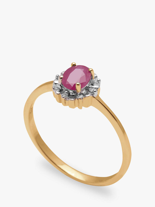 A B Davis  Engagement Ring 9ct Yellow Gold Oval Ruby and Diamond