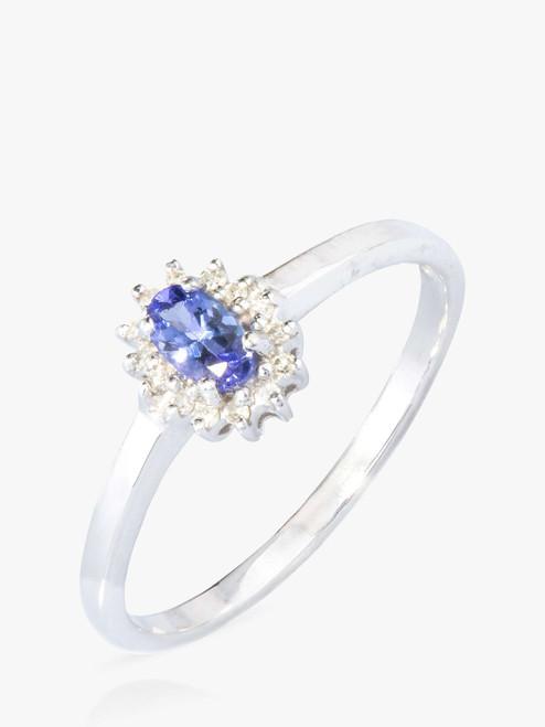 A B Davis Silver/Blue 9ct White Gold Tanzanite and Diamond Cocktail Ring