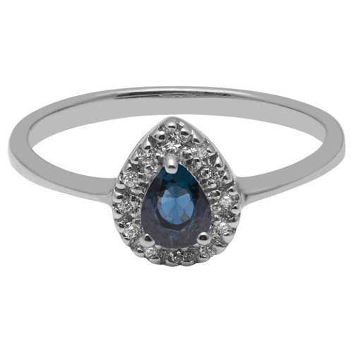 A B Davis Engagement Ring 9ct White Gold Pear Sapphire and Diamond