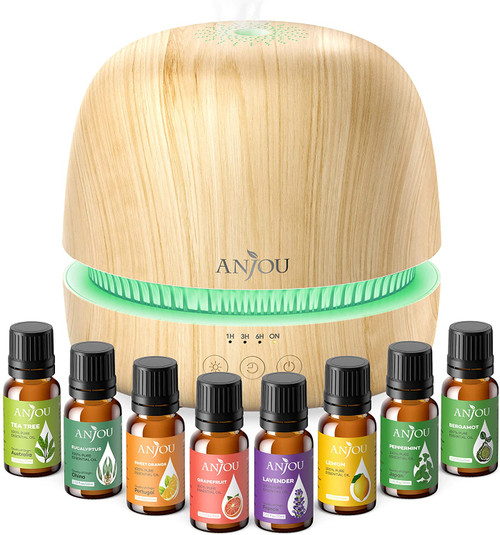 Anjou  Aroma Oils Diffuser Gift Set with 8 Essential Oils