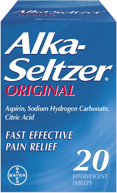 Alka Seltzer Original Fast Effective Pain Relief Water Soluble Aspirin Tablets