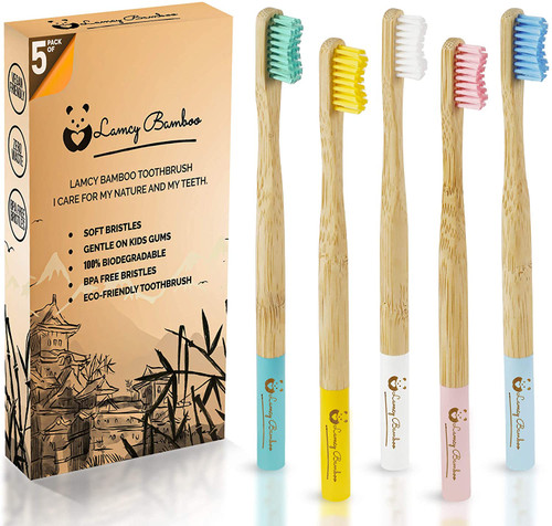Bamboo Pack of 5 Multicolored Soft Bristles Toothbrushes