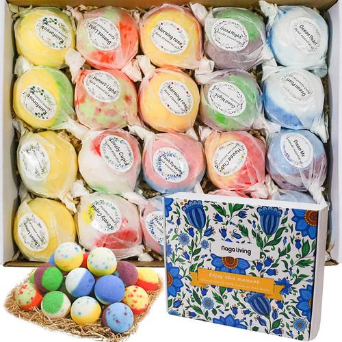 20 Handmade Organic Bubble Bath Bombs Gift Set