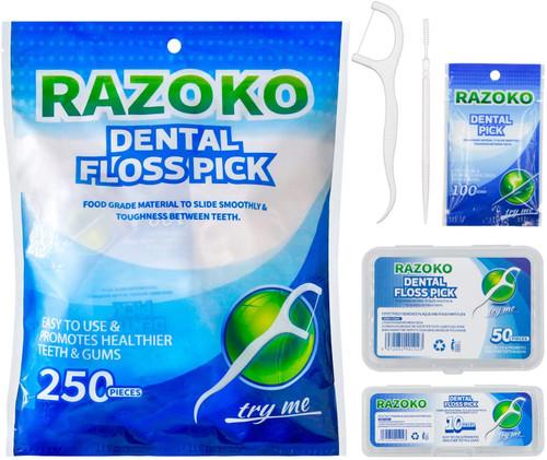 RAZOKO Dental Floss Picks with Portable Cases