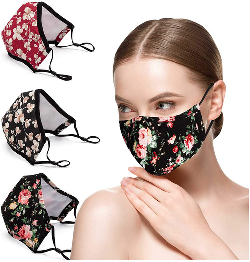 Fashion Flower Printed Cotton Face Masks with Filters