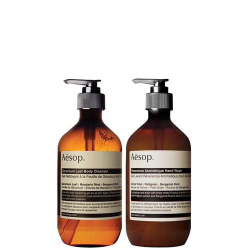 Aesop Duo Geranium Cleanser and Reverence Hand Wash