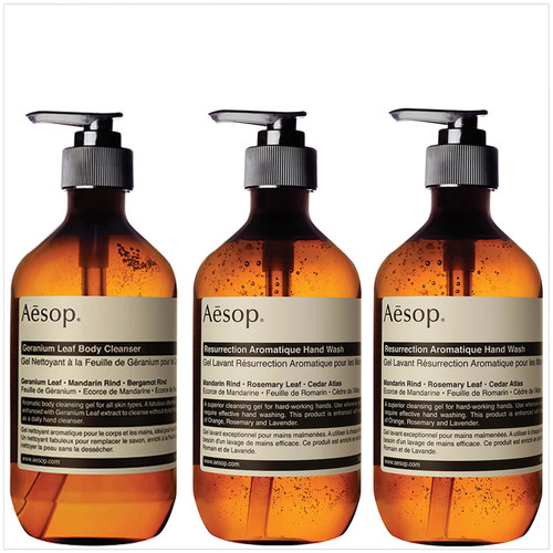 Aesop Geranium Cleanser and Resurrection and Reverence Hand Wash Bundle