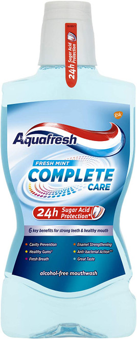 Aquafresh 24 Hour Protection Fresh Mint Mouthwash - 500 ml