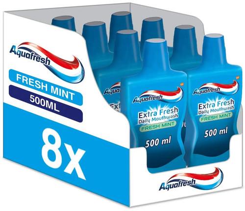 Aquafresh Mouthwash Fresh Breath Daily Mint  Mouthwash - 8x500 ml
