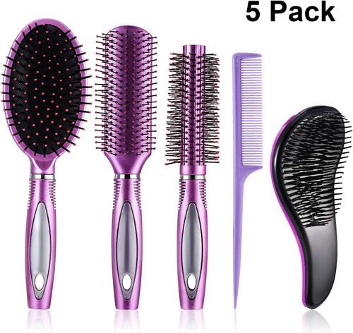 5 Pieces Hair Brush Set Detangling Paddle Brush