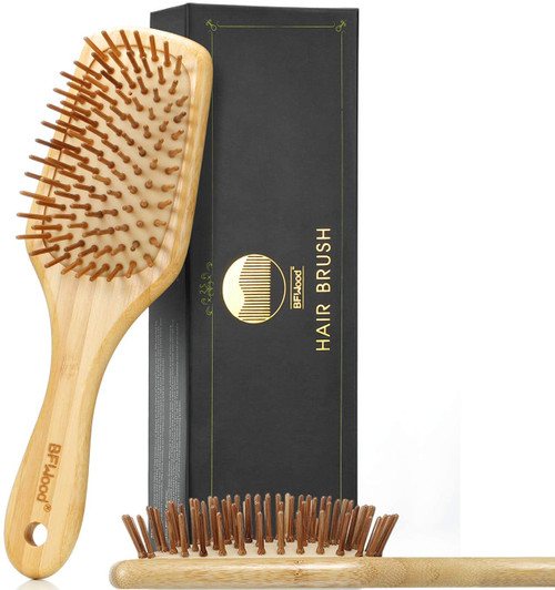 BFWood Bamboo Handle with Bamboo Bristles Paddle Hairbrush