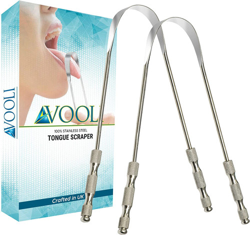 AVOOLI Stainless Steel Best Oral Care Tongue Scraper 2 Pack