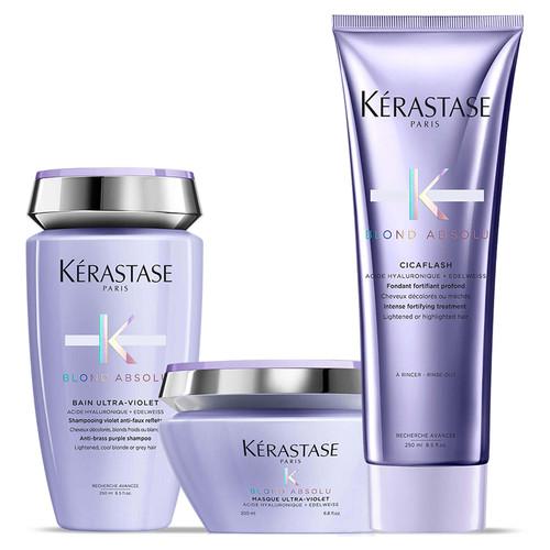 Kérastase Blond Absolu Ultra Violet Shampoo Masque and Conditioner Trio Set