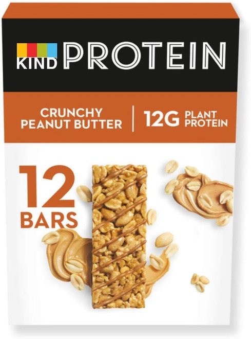 KIND Low Calorie Crunchy Peanut Butter High Protein Snack Bars