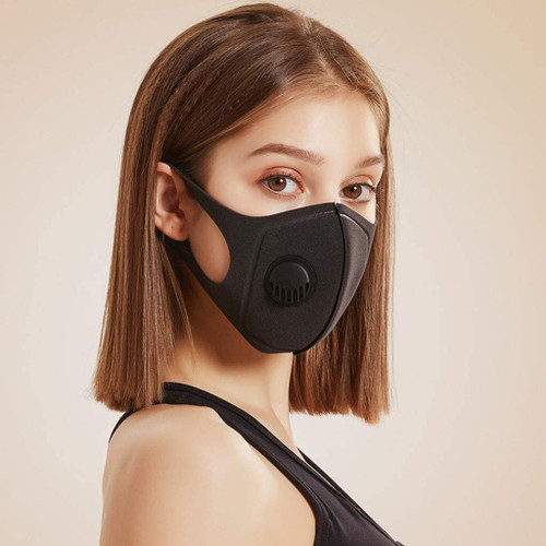 1Above 6 Pack Anti Dust Black Face Mask with Breathing Valve