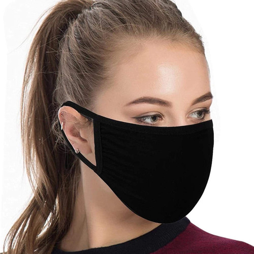 AYULI Poly Cotton Washable Stylish Black Face Mask