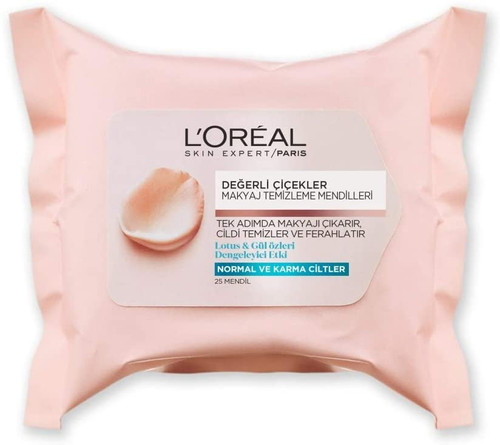 L'Oreal Paris Fine Flowers Cleansing Wipes Normal to Combination Skin-x25