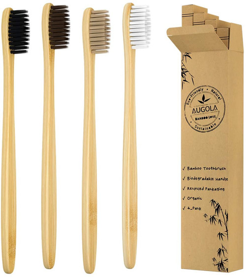 AUGOLA Bamboo Medium Soft Bristles Toothbrushes