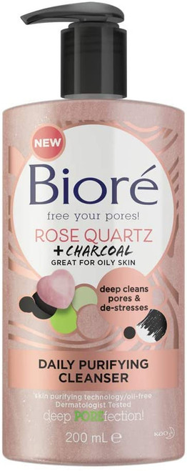 Biore Rose Quartz and Charcoal Face Wash Cleanser for Oily Skin-200 ml