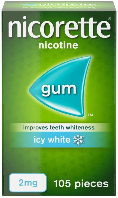 Nicorette Icy White Teeth Whiteness Chewing Gum - 105 Pieces