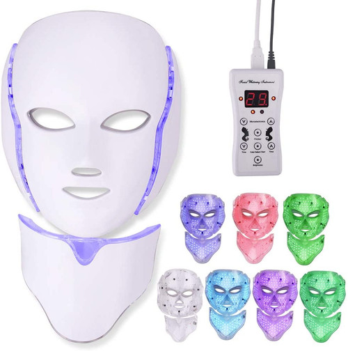 7 Colours Led Face Light Therapy Mask with Neck Mask