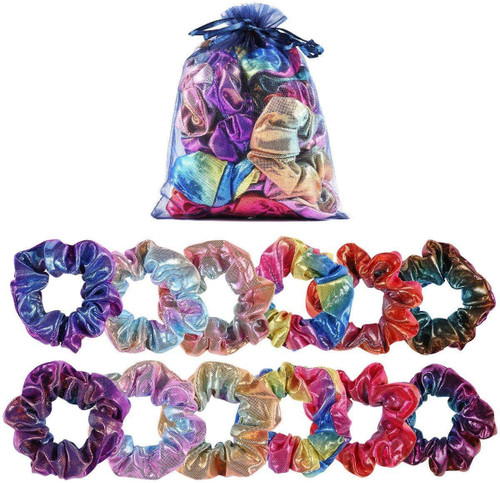 boogift Shiny Metallic Large Hair Scrunchies - 12 Pieces