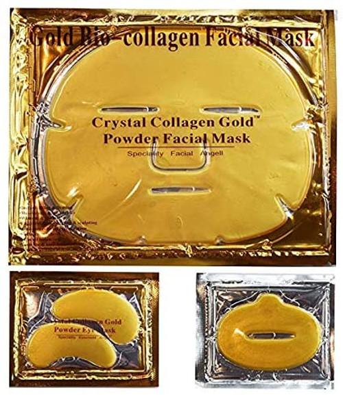 24K Gold Bio Collagen Crystal Face Mask  7 Facial Masks 7 Eye Masks 7 Lip Masks
