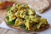 Curried Chicken w/ Cashews, Raisins on Toasted Tandoori Naan - (Free Recipe below)