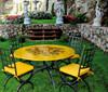 "Sunflower Bliss - 48"" Round w/ iron chairs"