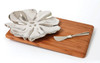 Mango Wood Server with Figural Flower Metal Insert and Knife