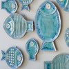 Fish Blue Ceramic Wall Sculpture Plates - multiple sizes