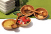 Acacia Olive Wood Double Bowl & Double Spoon