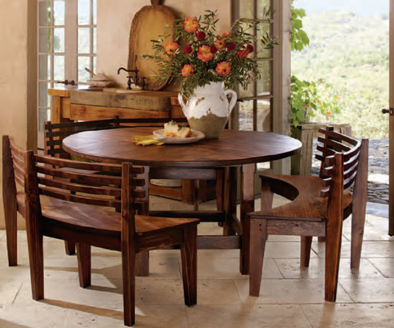 French Chateaux Wooden Table 3 Benches