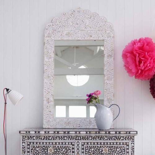 Adriana White Floral Mirror