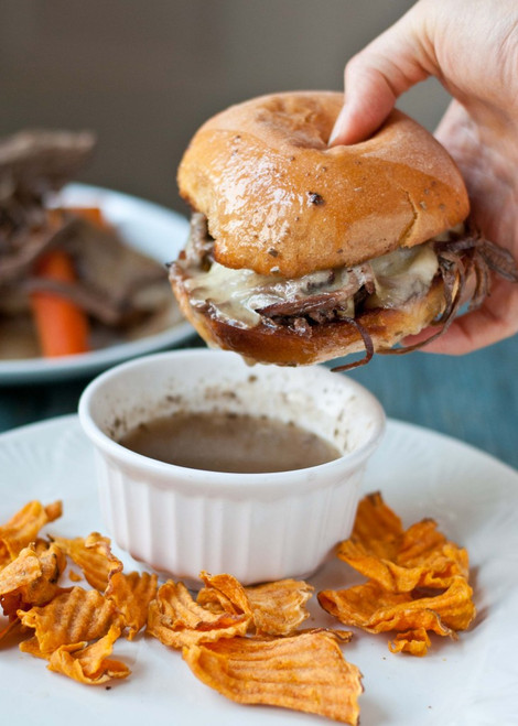 Slow Cooker Beef Brisket French Dip Sandwiches - (Free Recipe below)